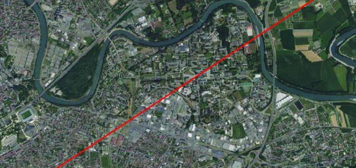 Exemple d'un transect sur la ville de Grenoble